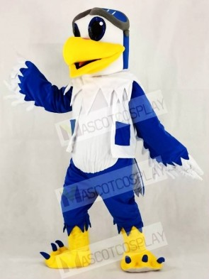 Blue and White Eagle Ace Pilot Bird Hawk Mascot Costumes Animal