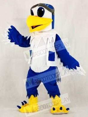Blue and White Eagle Ace Pilot Bird Hawk Mascot Costumes Animal