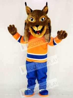 Hunter the Canadian Lynx with Orange Suit Mascot Costume Animal