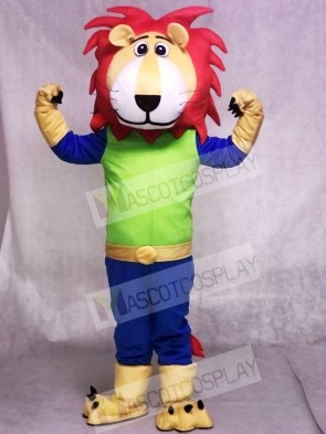 Green And Blue Leo Lion With Red Hair Mascot Costumes Anima