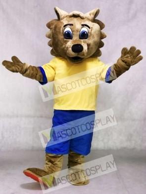 Bob Cat Mascot Costume with Yellow Shirt and Blue Shorts