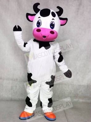 Cute Blue Eyes Cow Mascot Costumes Farm Animal