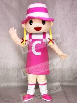 Pink Hat Girl Blonde Mascot Costumes Cartoon People