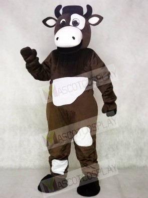 Brown and White Cow Mascot Costume
