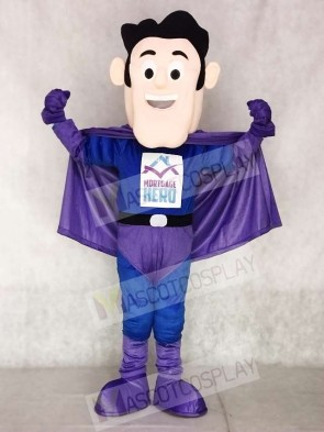 Super Hero in Purple and Blue Mascot Costumes People