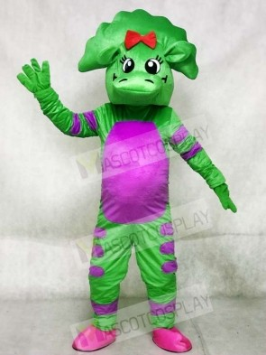 Green Dinosaur with Purple Belly Mascot Costumes
