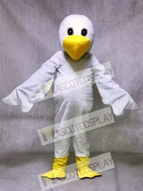 White Cartoon Pelican Bird Mascot Costume Animal