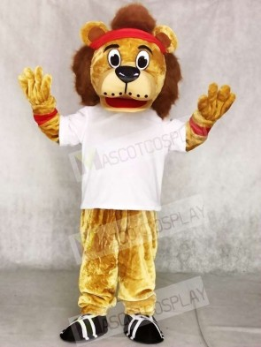 Lenny The Lion in White Vest Mascot Costumes Animal