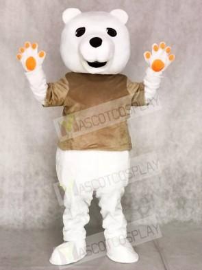 Tan Shirt Polar Bear Mascot Costumes Animal