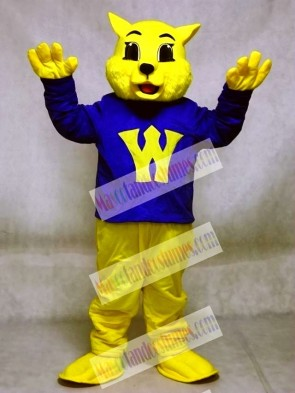 Cute Winner Wildcat Cat Mascot Costumes in Blue Shirt Animal