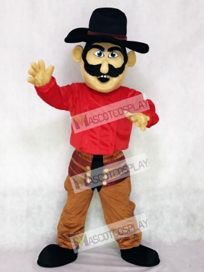 Cowboy with a Black Hat Mascot Costume