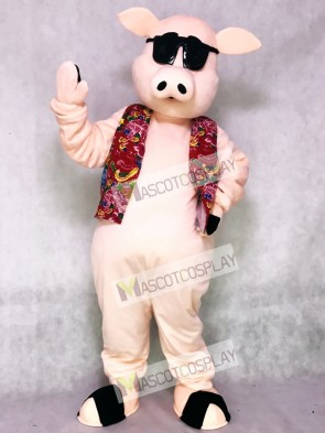 Pig Piglet Hog with Hawaiian Vest & Sunglasses Mascot Costume