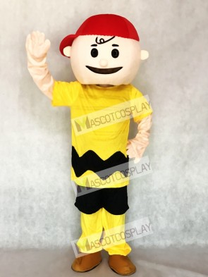 Yellow T-shirt Boy with Red Hat Charlie Brown from Snoopy Mascot Costume