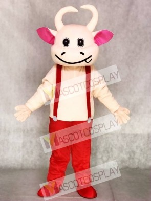 Red Overalls Cow Mascot Adult Costumes Animal