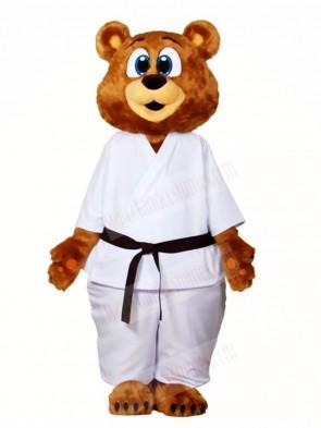 White Karate Suit Bear Mascot Costumes Animal