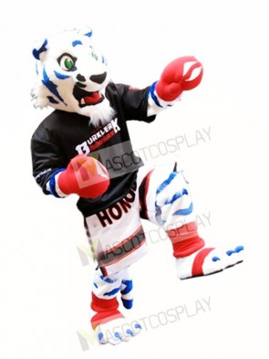 Cute White Tiger with Royal Blue Stripes Mascot Costume Boxer Mascot Costumes Animal