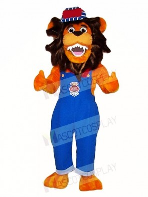 Blue Overalls Lion Mascot Costumes Animal