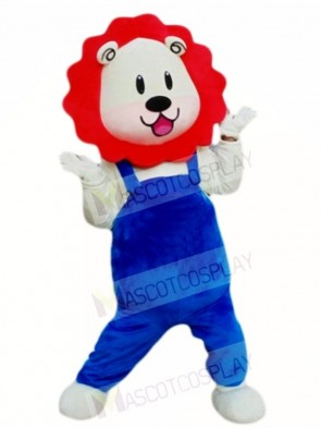 Red Mane Blue Overalls Lion Mascot Costumes Animal