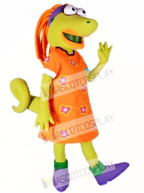 Lizard with Orange Dress Mascot Costumes Animal