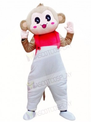 Monkey in White Overalls Mascot Costumes Animal