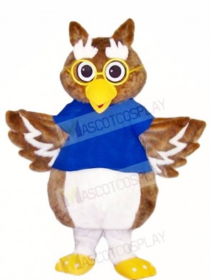 Brown Owl with Glasses Mascot Costumes Bird Animal