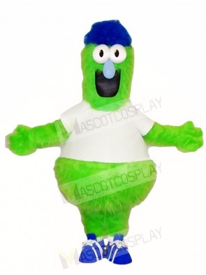 Fluffy Green Monster with Blue Hat Mascot Costumes
