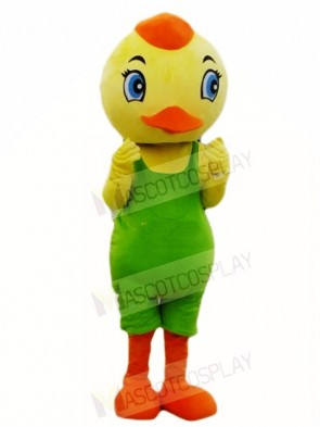 Yellow Bird in Green Overalls Mascot Costumes Animal