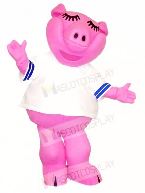 Pink Pig in White Shirt Mascot Costumes Farm Animal