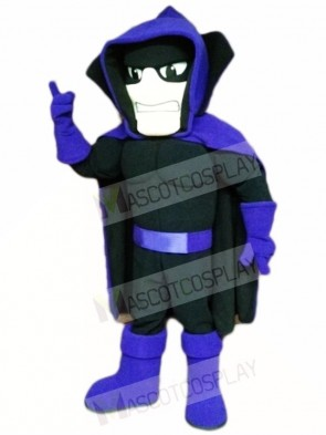 Black Phantom Ghost Specter with Purple Cape Mascot Costumes