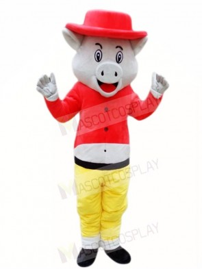Pig Wild Boar in Red Hat Mascot Costumes Animal