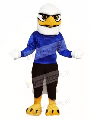 White Head Eagle with Blue Shirt Mascot Costumes Bird Animal