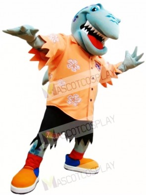 Orange Shirt Shark Mascot Costume Ocean
