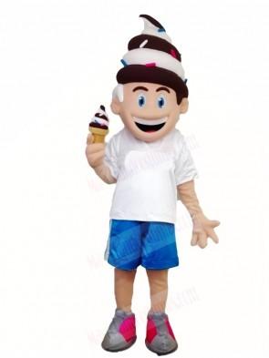 Chocalate and Vanilla Ice Cream Boy Mascot Costumes People