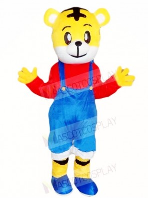 Tiger with Blue Overalls Mascot Costumes Animal