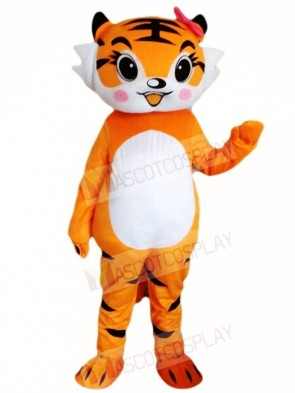 Tiger with Pink Bowknot Mascot Costumes Animal