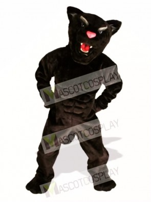 Cute Muscle Panther Mascot Costume
