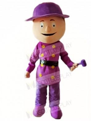 Purple Shirt Builder Construction Man with Hammer Mascot Costumes People