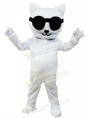 White Cat with Sunglasses Mascot Costumes Cartoon