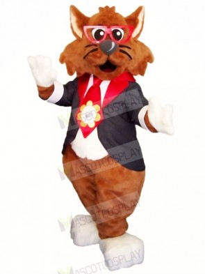 Brown Cat with Glasses Mascot Costumes Cartoon