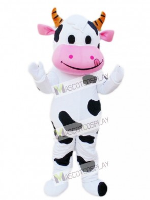 Pink Mouth Cow Mascot Costume