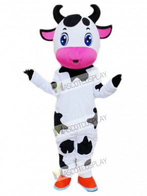 Cute Blue Eyes Cow Mascot Costume