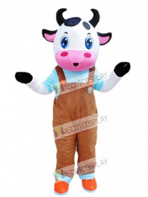 Cute Blue Eyes Cow with Brown Overalls Mascot Costume