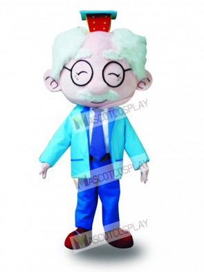 Blue Suit Glasses Old Man Mascot Costume