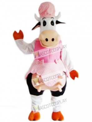Cow in Pink Dress Mascot Costume