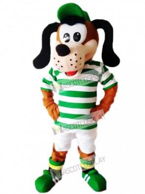 Cute Dog in Striped Shirt Mascot Costume