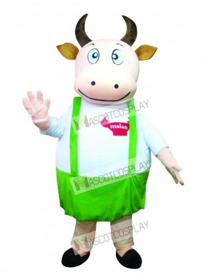 Fat Cow with Blue Overalls Mascot Costume