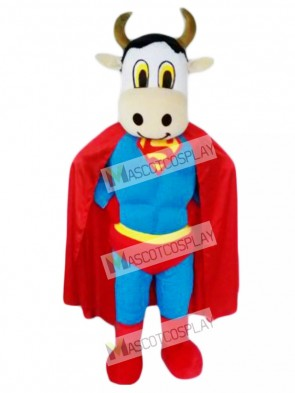 Super Cow Cattle with Superman Cape Mascot Costume