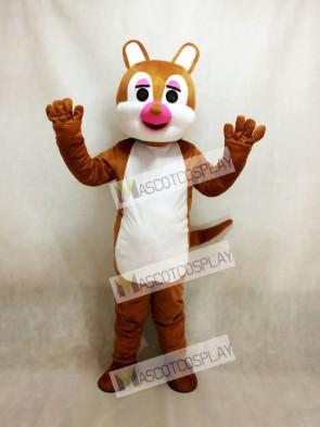Pink Nose Squirrel Mascot Costume