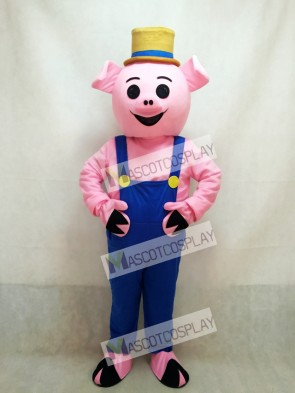 Farmer Piglet Pig Hog with Blue Overalls & Hat Mascot Costume