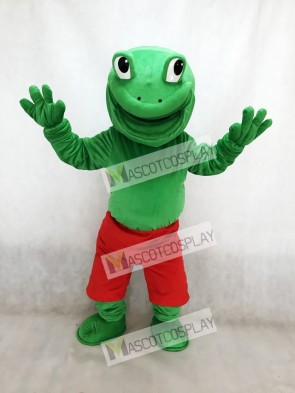 Green Frog with Red Shorts Mascot Costume Animal